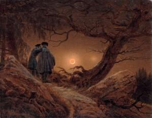 フリードリヒ『月を見る二人の男』1823/24