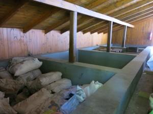 ピペーニョようの古い大きな開放型のセメント醗酵槽。