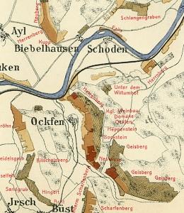 1906年のザールの葡萄畑格付け地図。ガイスベルクの名が右下に見える。出典:Die historische Mosel-Weinbau-Karte für den Regierungsbezirk Trier aus dem Jahre 1906 (www.riesling.de)